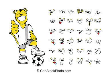 Tiger-Kinder-Fußball-Cartoon Set1.