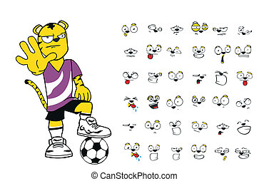 Tiger-Kinder-Fußball-Cartoon Set4.