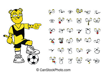 Tiger-Kinder-Fußball-Cartoon Set5.