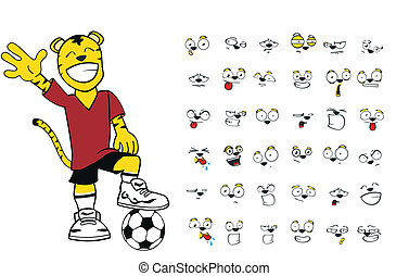 Tiger-Kinder-Fußball-Cartoon Set6.