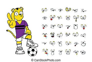 Tiger-Kinder-Fußball-Cartoon Set7.