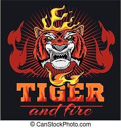 Tiger Kopf und Feuer - Vektorgrafik.