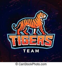 Tiger Maskottchenvektor. Sport-Design-Vorlage. Fußball oder Baseball Illustration. College-Liga-Insignien, Schulteam-Ikone im dunklen Hintergrund.