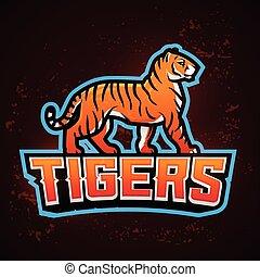 Tiger Maskottchenvektor. Sport Logo Design Vorlage. Fußball oder Baseball Illustration. College-Liga-Insignien, Schul-Team-Logotype auf Feuer Hintergrund.