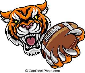 Tiger mit amerikanischem Footballball.