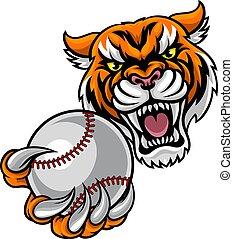 Tiger mit Baseball-Ball-Maskottchen.