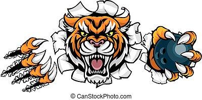 Tiger mit Bowlingkugeln im Hintergrund.