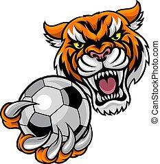 Tiger mit Fußballmaskottchen.