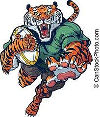 Tiger Rugby Maskottchen Vektor Cartoon.