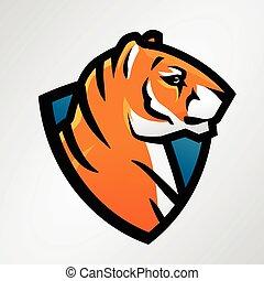 Tiger Schild Sport Maskottchen Vorlage. Fußball oder Baseball-Patch-Design. College-Liga-Insignien, High School-Team-Vektor
