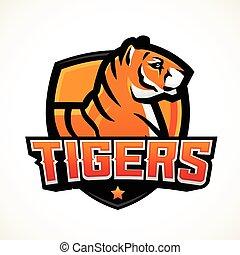Tiger Schild Sport Maskottchen Vorlage. Vorgefertigte Fußball- oder Basketball-Patch-Design. College-Liga-Insignien, High School-Team-Vektor