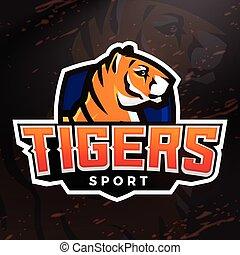 Tiger Schild Sport Maskottchen Vorlage. Vorgefertigter Fußball, Basketball oder Baseball-Patch-Design. College-Liga-Insignien, High School-Team-Vektor