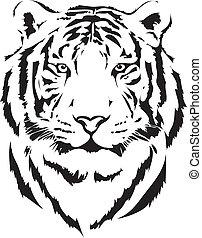 tiger, schwarz, kopf, auslegung