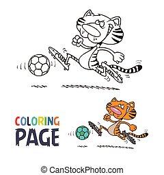 Tiger spielt Fußball-Cartoon-Farben Seite.