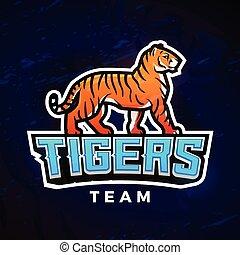 Tiger-Sport-Logo-Vektor. Maskottchen-Design-Vorlage. Fußball oder Baseball Illustration. College-Liga-Insignien, High School-Team-Logotype im dunklen Hintergrund.