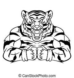 tiger, starke , maskottchen