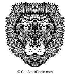 tiger, stilisiert, zentangle, face.