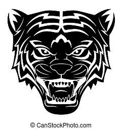 tiger, t�towierung, kopf