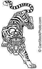 tiger, unten., weißes, schwarz, hochklettern