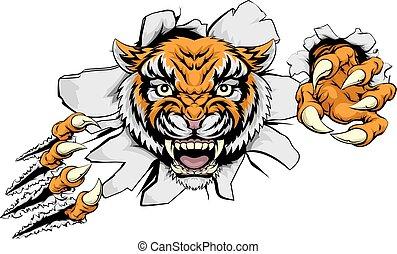 Tigerangriffskonzept.