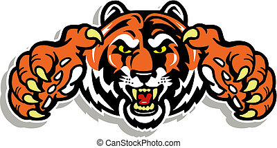 Tigergesicht mit Krallen.