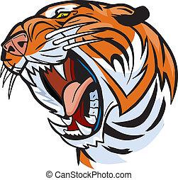 Tigerkopf brüllt Vektor-Cartoon.