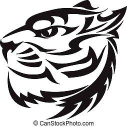 Tigerkopfdesign, klassische Gravur.