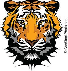 Tigerkopfvektorgrafisches Maskottchen