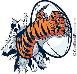 Tigerpfote, die Rugbyball knacken.