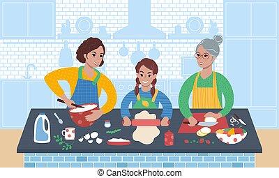 time., kochen, familie, drei generationen, zusammen., frauen, inländisch