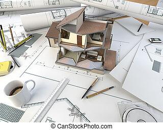 tisch, abschnitt, architekt, modell, zeichnung