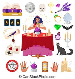 tisch, astrologie, esoteric., vermögen, kugel, kerzen, magisches, kassierer, illustration., wohnung, kristall, zigeuner, brennender, vektor