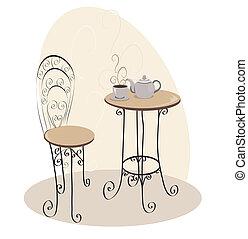 tisch, café, franzoesisch