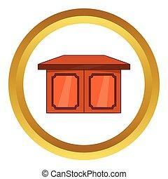 Tisch für Wohnraum-Vektor-Icon, Zeichentrick-Stil.