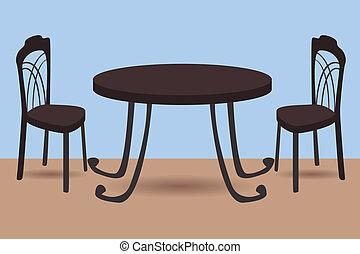 Tisch und Stühle.