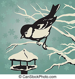Titmouse sitzt im Winter auf einem Ast nahe dem Anleger.