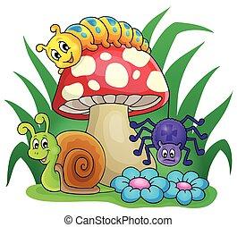 Toadstool mit kleinen Tieren.