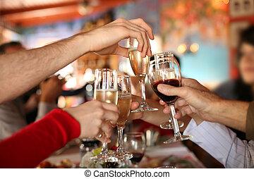 toast., brille, halten hände, machen, champagner, celebration., wein