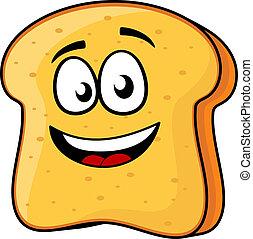 toast, scheibe, strahlend lächeln, oder, bread