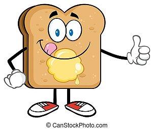 Toastbrot-Stil-Cartoon Charakter.