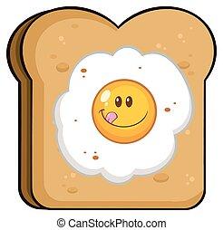 Toastbrotscheibe mit lächelndem Ei.