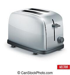 toaster., metall, freigestellt, hell, vektor, white.