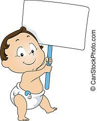 Toddler-Junge mit einem leeren Brett