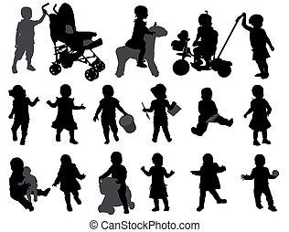 Toddler sammelt Silhouettes
