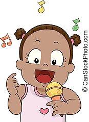 Toddler singt mic Illustration.