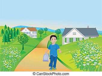 Toddler und Landschaft
