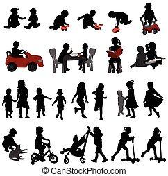 Toddlers und Kinder Silhouetten.