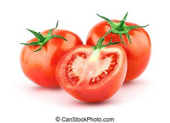 Tomate mit grünem Blatt
