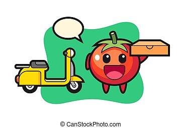 tomaten, pizza, lieferant, zeichen, abbildung