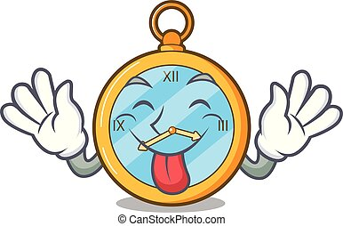 Tongue out gold Vintage clock with picture cartoon.